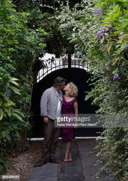 Actors Thibault de Montalembert and wife Helene Babu are photographed for Paris Match on July 3 2017 in BoulogneBillancourt France