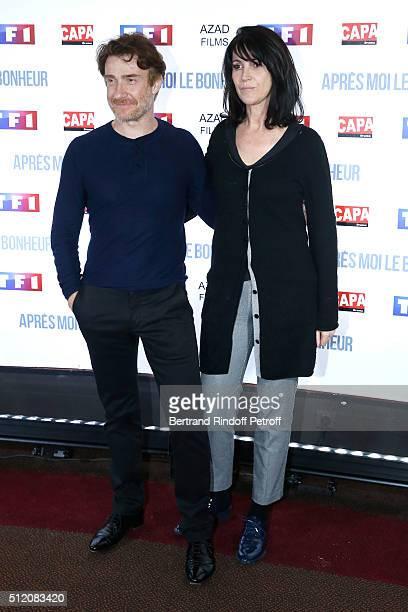 Actors Thierry Fremont and Zabou Breitman attend the 'Apres Moi Le Bonheur' Paris Photocall at Cinema Gaumont Marignan on February 24 2016 in Paris...