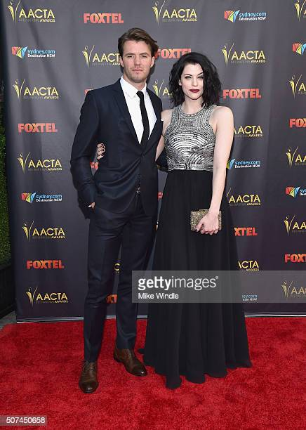 Actors Thomas Cocquerel and Jessica De Gouw attend the 5th AACTA International Awards at Avalon Hollywood on January 29 2016 in Los Angeles United...