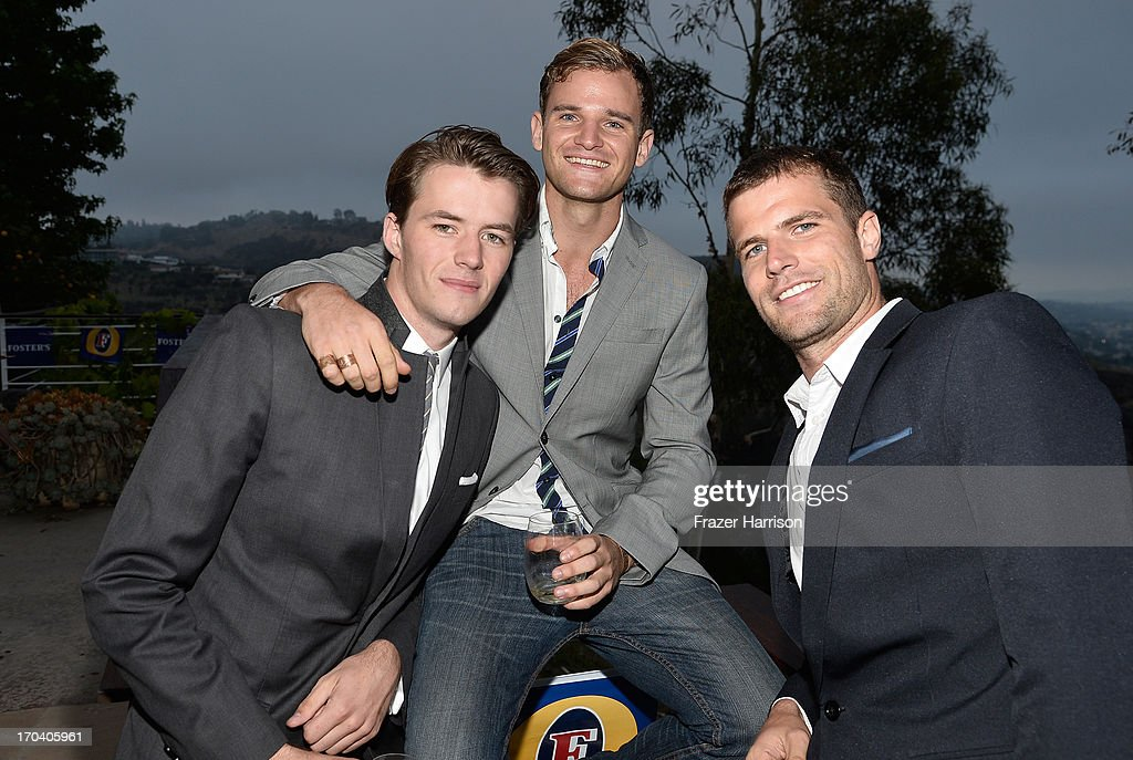Actors Thomas Cocquerel, Michael Sheasby and David Coussins attend the Australians In Film and Heath Ledger Scholarship Host 5th Anniversary Benefit Dinner on June 12, 2013 in Los Angeles, California.