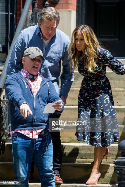 Actors Thomas Haden Church and Sarah Jessica Parker are seen filming 'Divorce' on the Upper West Side on May 12 2017 in New York City