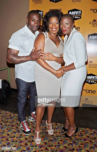 Actors Thomas Jones Lorraine Toussaint and Aisha Hinds attend the 'Runaway Island' premiere during the 2015 American Black Film Festival at AMC...