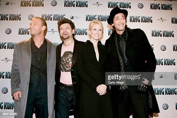 Actors Thomas Kretschmann Andy Serkis Naomi Watts and Adrien Brody arrive for European Premiere of 'King Kong' December 7 2005 in Berlin Germany