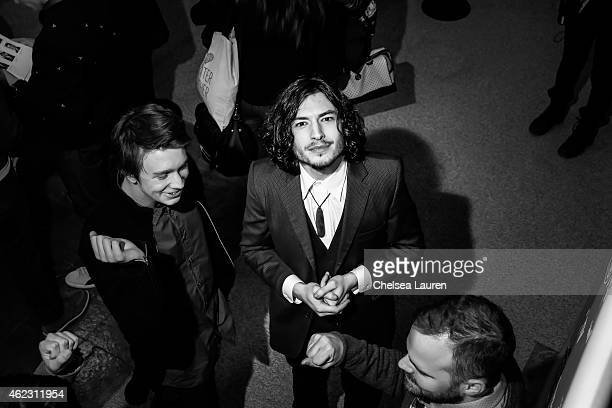 Actors Thomas Mann and Ezra Miller attend the 'The Stanford Prison Experiment' premiere during the 2015 Sundance Film Festival on January 26 2015 in...