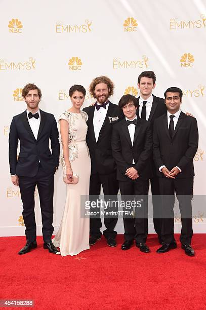 Actors Thomas Middleditch Amanda Crew TJ Miller Josh Brener Zach Woods and Kumail Nanjiani attend the 66th Annual Primetime Emmy Awards held at Nokia...