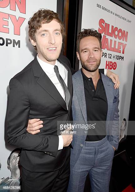 Actors Thomas Middleditch and Chris Diamantopoulos attend the HBO 'Silicon Valley' season 2 premiere and after party at the El Capitan Theatre on...