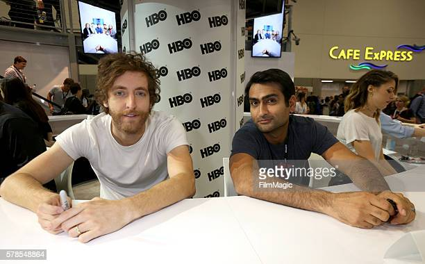 Actors Thomas Middleditch and Kumail Nanjiani attend HBO's 'Silicon Valley' Panel during ComicCon International 2016 at Hilton Bayfront on July 21...