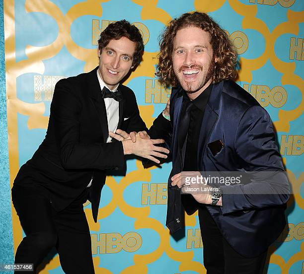 Actors Thomas Middleditch and T J Miller attend HBO's post Golden Globe Awards party at The Beverly Hilton Hotel on January 11 2015 in Beverly Hills...