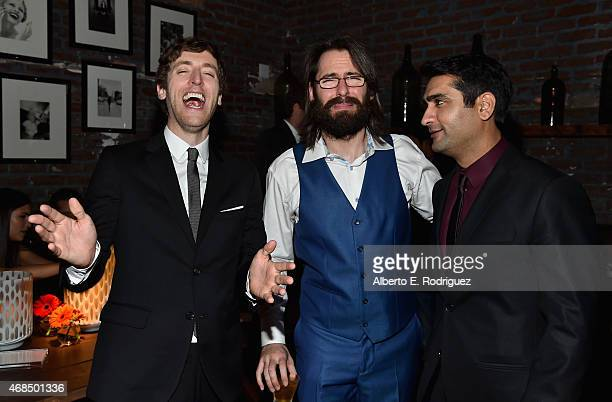 Actors Thomas Middleditch Martin Starr and Kumail Nanjiani attend the after party for the premiere of HBO's 'Silicon Valley' 2nd Season on April 2...