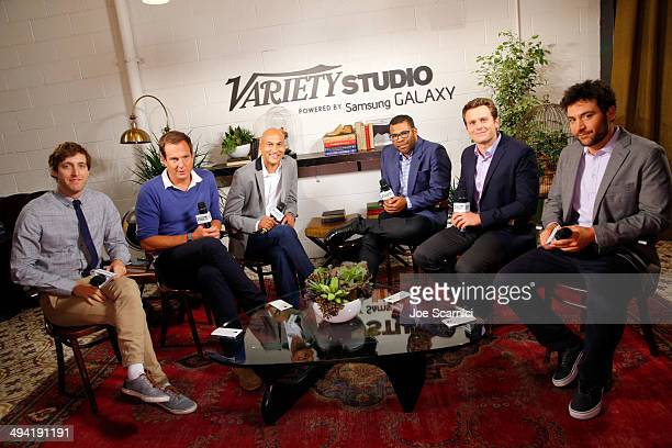 Actors Thomas Middleditch Will Arnett KeeganMichael Key Jordan Peele Jonathan Groff and Josh Radnor attend the Variety Studio powered by Samsung...