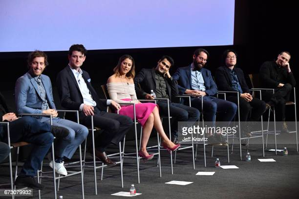 Actors Thomas Middleditch Zach Woods Amanda Crew Kumail Nanjiani Martin Starr Jimmy O Yang and Matt Ross at HBO's 'Silicon Valley' FYC on April 25...