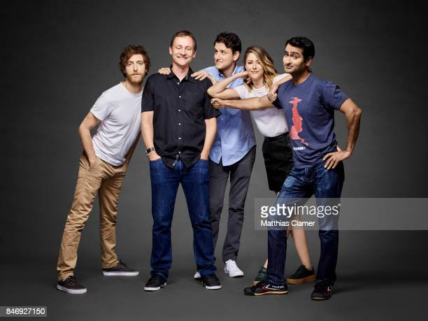 Actors Thomas Middleditch Zach Woods Amanda Crew Kumail Nanjiani with executive producer Alec Berg from 'Silicon Valley' are photographed for...