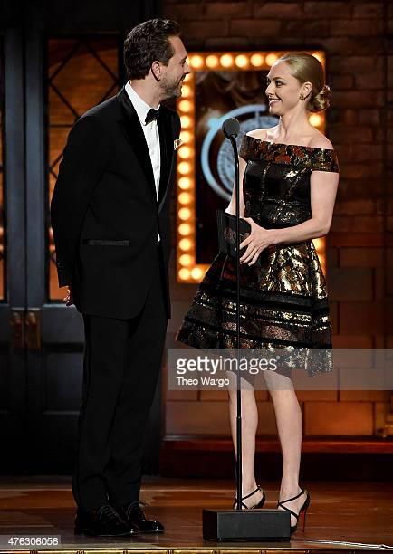 Actors Thomas Sadoski and Amanda Seyfried speak onstage at the 2015 Tony Awards at Radio City Music Hall on June 7 2015 in New York City