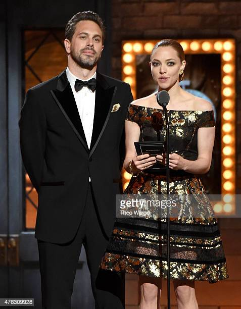 Actors Thomas Sadoski and Amanda Seyfried speak onstage at the 2015 Tony Awards at Radio City Music Hall on June 7 2015 in New York City