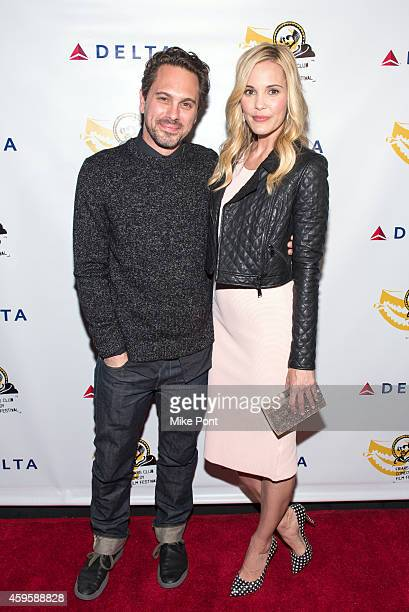 Actors Thomas Sadoski and Leslie Bibb attend The Friar Club Presents 'Take Care' New York Screening at The Friars Club on November 25 2014 in New...