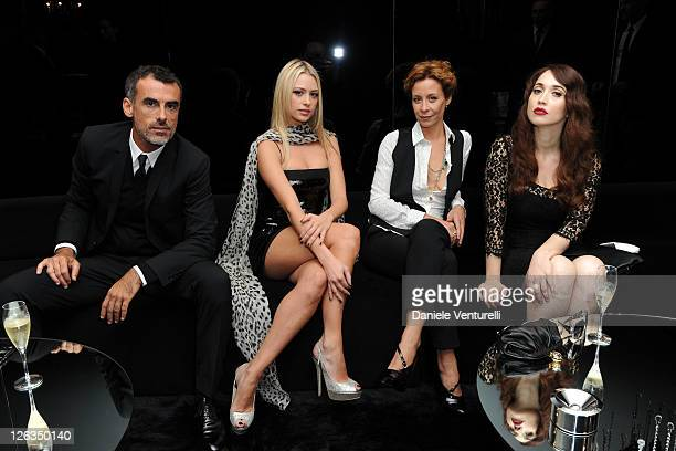 Actors Thomas Trabacchi Martina Stella Carlotta Natoli and Chiara Francini pose in the VIP room at the Dolce Gabbana Spring/Summer 2012 fashion show...