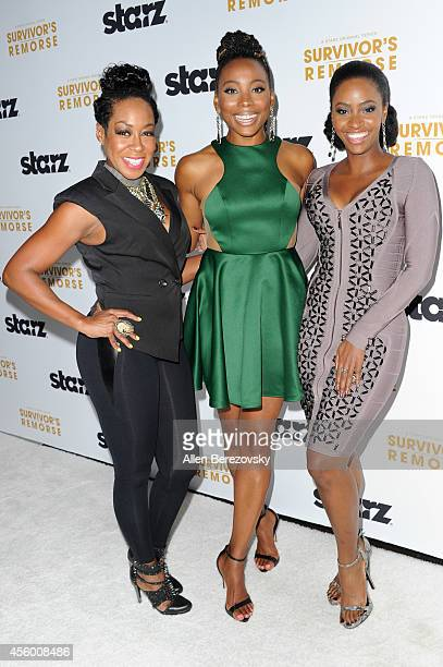 Actors Tichina Arnold Erica Ash and Teyonah Parris attend the Los Angeles premiere of STARZ new series 'Survivor's Remorse' at Wallis Annenberg...