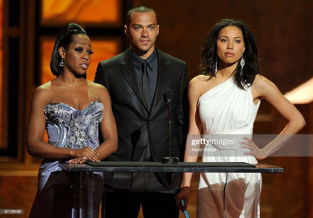 Actors <a gi-track='captionPersonalityLinkClicked' href=/galleries/search?phrase=Tichina+Arnold&family=editorial&specificpeople=593825 ng-click='$event.stopPropagation()'>Tichina Arnold</a>, Jesse Williams and <a gi-track='captionPersonalityLinkClicked' href=/galleries/search?phrase=Jurnee+Smollett&family=editorial&specificpeople=614220 ng-click='$event.stopPropagation()'>Jurnee Smollett</a> speak onstage during the 41st NAACP Image awards held at The Shrine Auditorium on February 26, 2010 in Los Angeles, California.