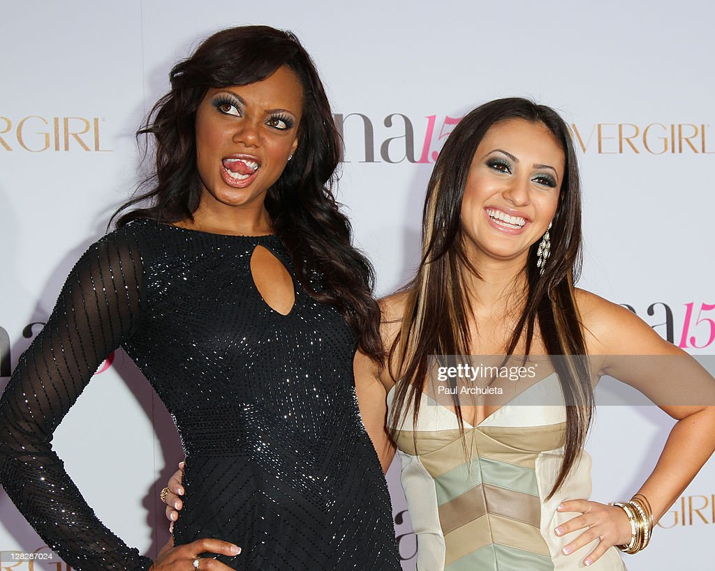 Actors Tiffany Hines and Francia Raisa attend the Latina Magazine's 15th anniversary celebration at The Globe Theatre on October 5 2011 in Universal...