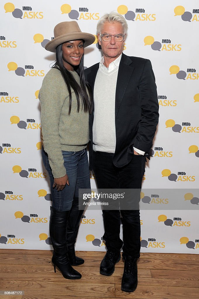 Actors Tika Sumpter (L) and Harry Hamlin in the IMDb Studio In Park City for 'IMDb Asks': Day Two - on January 23, 2016 in Park City, Utah.