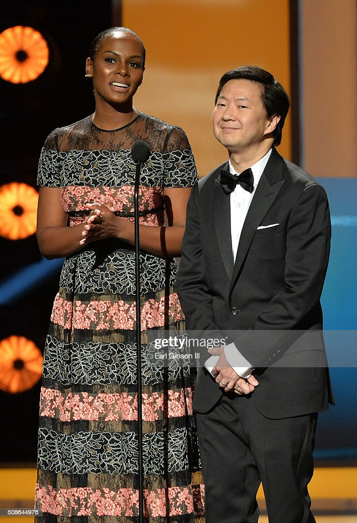 Actors Tika Sumpter (L) and Ken Jeong onstage during the 47th NAACP Image Awards presented by TV One at Pasadena Civic Auditorium on February 5, 2016 in Pasadena, California.