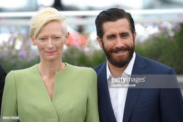 Actors Tilda Swinton and Jake Gyllenhaal attend the 'Okja' photocall during the 70th annual Cannes Film Festival at Palais des Festivals on May 19...