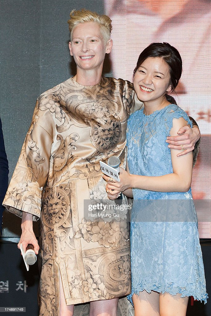 Actors Tilda Swinton and Ko A-Sung attend the 'Snowpiercer' South Korea premiere at Times Square on July 29, 2013 in Seoul, South Korea. The film will open on August 1, in South Korea.