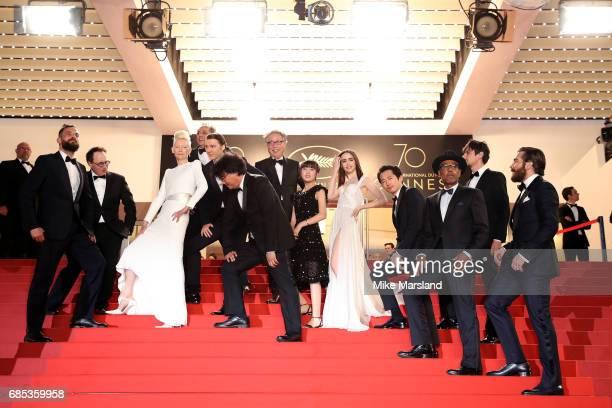 Actors Tilda Swinton and Paul Dano director Bong JoonHo and actors Byung Heebong Ahn SeoHyun Lily Collins Steven Yeun Giancarlo Esposito Devon Bostic...