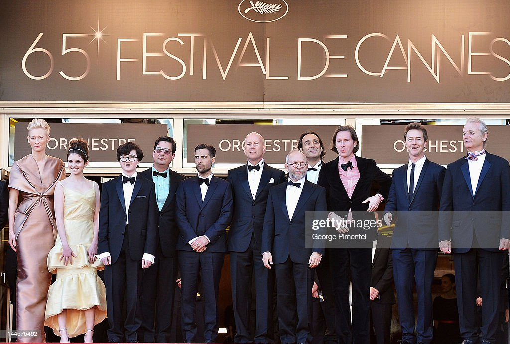 Actors <a gi-track='captionPersonalityLinkClicked' href=/galleries/search?phrase=Tilda+Swinton&family=editorial&specificpeople=202991 ng-click='$event.stopPropagation()'>Tilda Swinton</a>, Kara Hayward, Jared Gilman, writer <a gi-track='captionPersonalityLinkClicked' href=/galleries/search?phrase=Roman+Coppola&family=editorial&specificpeople=615097 ng-click='$event.stopPropagation()'>Roman Coppola</a>, actor <a gi-track='captionPersonalityLinkClicked' href=/galleries/search?phrase=Jason+Schwartzman&family=editorial&specificpeople=216351 ng-click='$event.stopPropagation()'>Jason Schwartzman</a>, actor <a gi-track='captionPersonalityLinkClicked' href=/galleries/search?phrase=Bruce+Willis&family=editorial&specificpeople=202185 ng-click='$event.stopPropagation()'>Bruce Willis</a>, narrator <a gi-track='captionPersonalityLinkClicked' href=/galleries/search?phrase=Bob+Balaban&family=editorial&specificpeople=220226 ng-click='$event.stopPropagation()'>Bob Balaban</a>, Director <a gi-track='captionPersonalityLinkClicked' href=/galleries/search?phrase=Wes+Anderson&family=editorial&specificpeople=217728 ng-click='$event.stopPropagation()'>Wes Anderson</a>, actor <a gi-track='captionPersonalityLinkClicked' href=/galleries/search?phrase=Edward+Norton&family=editorial&specificpeople=210580 ng-click='$event.stopPropagation()'>Edward Norton</a> and actor <a gi-track='captionPersonalityLinkClicked' href=/galleries/search?phrase=Bill+Murray&family=editorial&specificpeople=171116 ng-click='$event.stopPropagation()'>Bill Murray</a> attend the Opening Ceremony and 'Moonrise Kingdom' Premiere during the 65th Annual Cannes Film Festival at the Palais des Festivals on May 16, 2012 in Cannes, France.