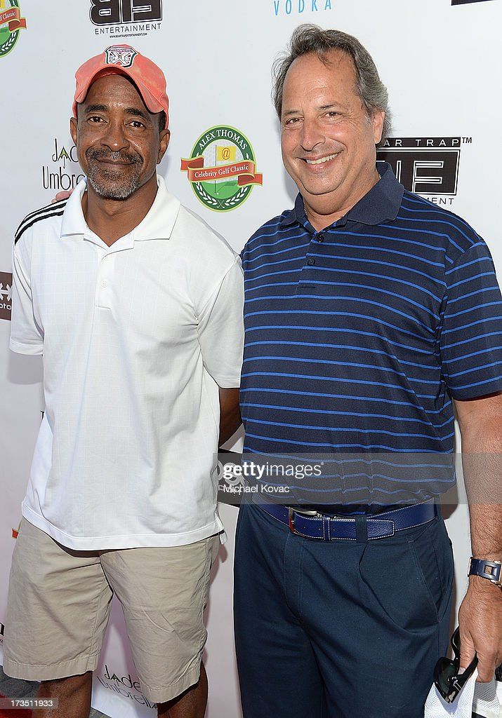 Actors Tim Meadows (L) and Jon Lovitz attend The 4th annual Alex Thomas Celebrity Golf Classic presented by Belvedere at Mountain Gate Country Club on July 15, 2013 in Los Angeles, California.