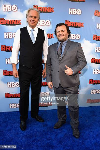 Actors Tim Robbins and Jack Black arrive at the Premiere Of HBO's 'The Brink' at Paramount Studios on June 8 2015 in Hollywood California