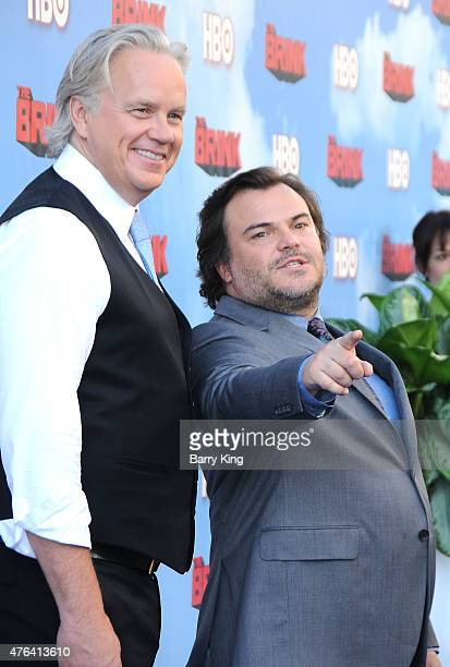 Actors Tim Robbins and Jack Black arrive at the Premiere of HBO's 'The Brink' at the Paramount Theater at Paramount Studios on June 8 2015 in...