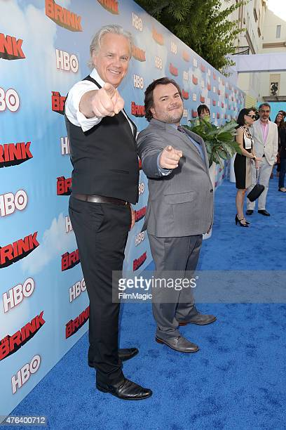 Actors Tim Robbins and Jack Black attend HBO's 'The Brink' Los Angeles Premiere at Paramount Theater on the Paramount Studios lot on June 8 2015 in...