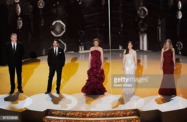 Actors Tim Robbins Colin Farrell Vera Farmiga Julianne Moore and Michelle Pfeiffer present onstage during the 82nd Annual Academy Awards held at...