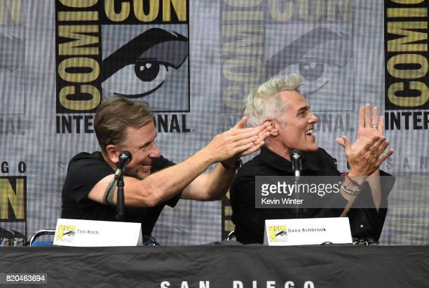 Actors Tim Roth and Dana Ashbrook speak onstage at ComicCon International 2017 Twin Peaks A Damn Good Panel at San Diego Convention Center on July 21...
