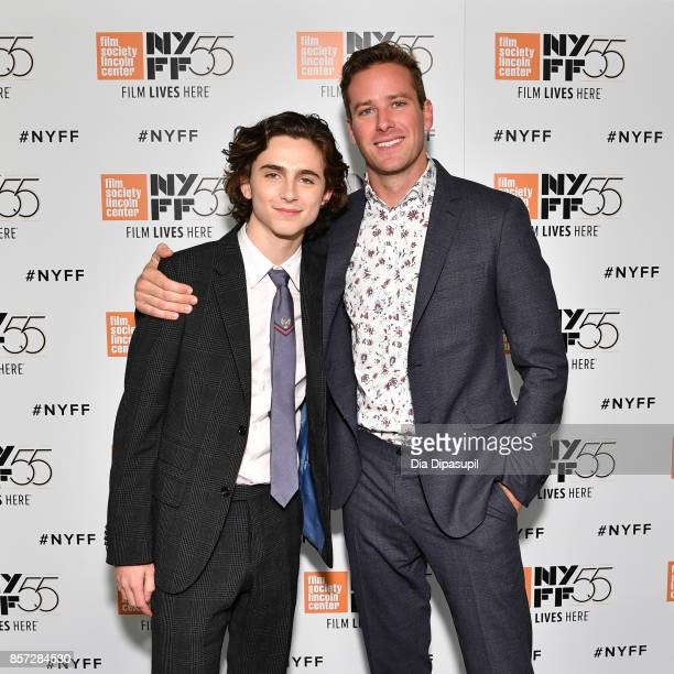 Actors Timothee Chalamet and Armie Hammer attend a screening of 'Call Me by Your Name' during the 55th New York Film Festival at Alice Tully Hall on...