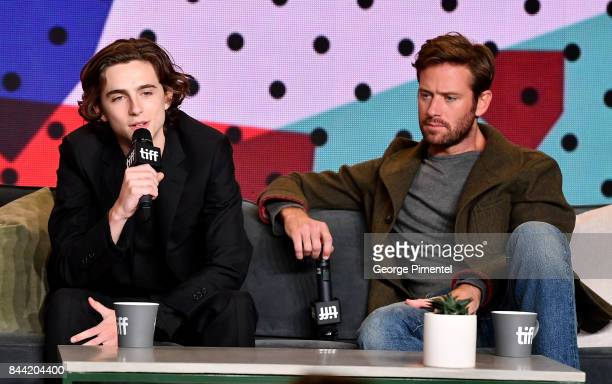 Actors Timothee Chalamet and Armie Hammer attend the 'Call Me By Your Name' press conference during 2017 Toronto International Film Festival at TIFF...
