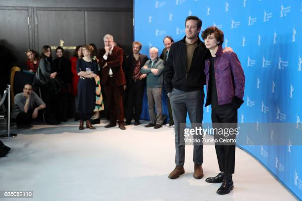 Actors Timothee Chalamet and Armie Hammers attend the 'Call Me by Your Name' photo call during the 67th Berlinale International Film Festival Berlin...