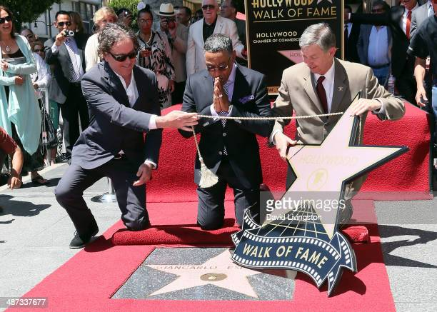 Actors Timothy Hutton Giancarlo Esposito and Hollywood Chamber of Commerce president and CEO Leron Gubler attend the ceremony honoring Giancarlo...