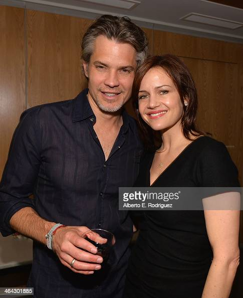Actors Timothy Olyphant and Carla Gugino attend the Writers Bloc Presents A Tribute to Elmore Leonard on January 21 2014 in Santa Monica California