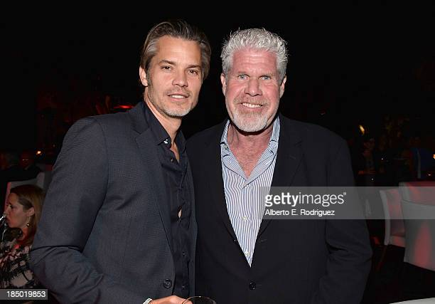 Actors Timothy Olyphant and Ron Perlman attend The Paley Center for Media's 2013 benefit gala honoring FX Networks with the Paley Prize for...