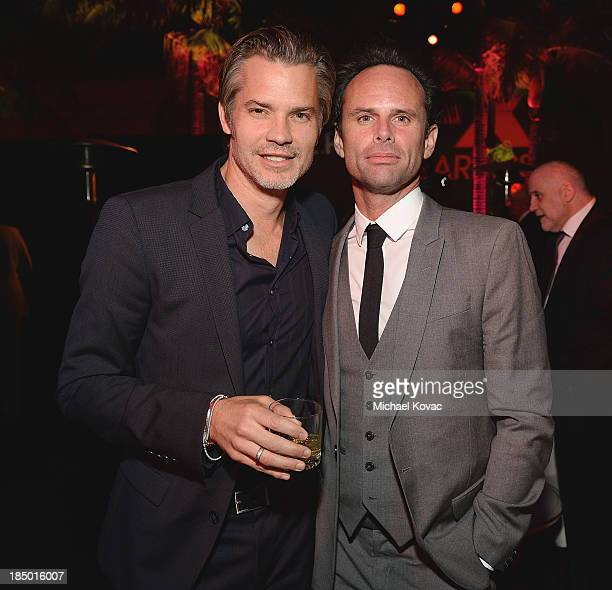 Actors Timothy Olyphant and Walton Goggins attend The Paley Center for Media's 2013 benefit gala honoring FX Networks with the Paley Prize for...