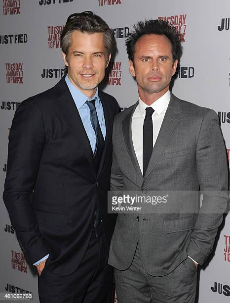 Actors Timothy Olyphant and Walton Goggins attend the season 5 premiere screening of FX's 'Justified' at the DGA Theater on January 6 2014 in Los...