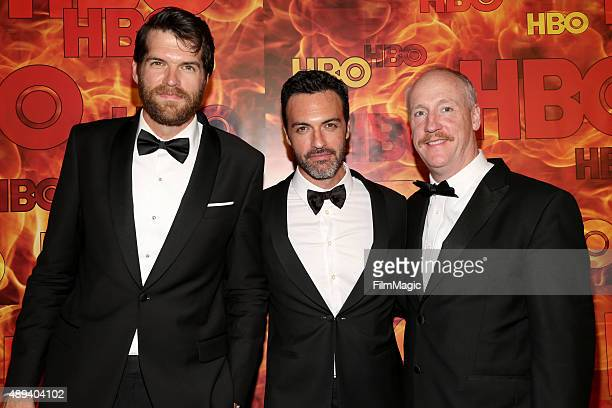 Actors Timothy Simons Reid Scott and Matt Walsh attend HBO's Official 2015 Emmy After Party at The Plaza at the Pacific Design Center on September 20...