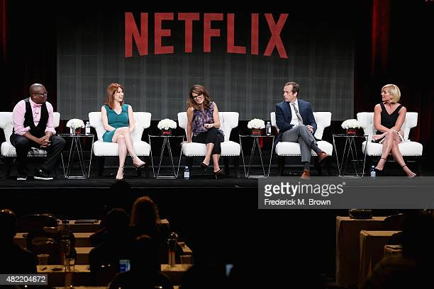 Actors Tituss Burgess Ellie Kemper creator/executive producer Tina Fey creator/executive producer Robert Carlock and actress Jane Krakowski speak...
