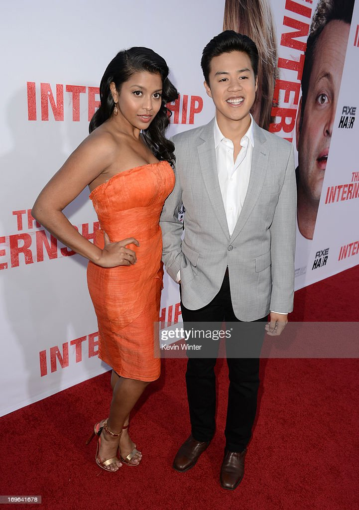 Actors Tiya Sircar (L) and Tobit Raphael arrive at the premiere of Twentieth Century Fox's 'The Internship' at Regency Village Theatre on May 29, 2013 in Westwood, California.