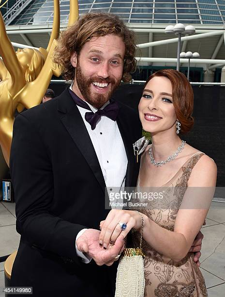 Actors TJ Miller and Kate Gorney attend the 66th Annual Primetime Emmy Awards held at Nokia Theatre LA Live on August 25 2014 in Los Angeles...