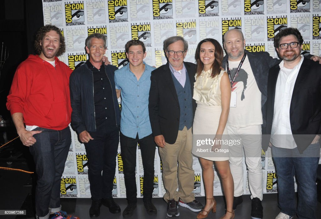 Actors T.J. Miller, Ben Mendelsohn and Tye Sheridan, director Steven Spielberg, actor Olivia Cooke, screenwriters Zak Penn and Ernest Cline attend the Warner Bros. Pictures 'Ready Player One' Presentation during Comic-Con International 2017 at San Diego Convention Center on July 22, 2017 in San Diego, California.