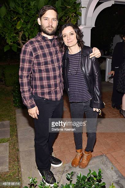 Actors Tobey Maguire and Sara Gilbert attend Barneys New York Jennifer Aniston and Tobey Maguire host a private dinner to celebrate The Barneys New...