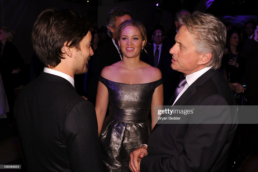 Actors Tobey Maguire, Erika Christensen and Michael Douglas attend the The Film Society of Lincoln Center's 37th Annual Chaplin Award gala at Alice Tully Hall on May 24, 2010 in New York City.